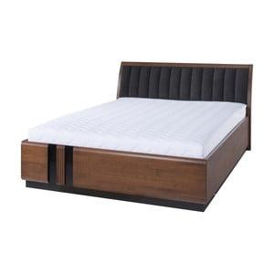 Dvojlôžková posteľ s čiernym polstrovaním Szynaka Meble Porti Dark Antique