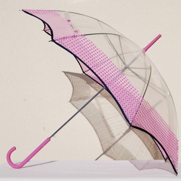 Dáždnik Alvarez Vichy Transparent Pink