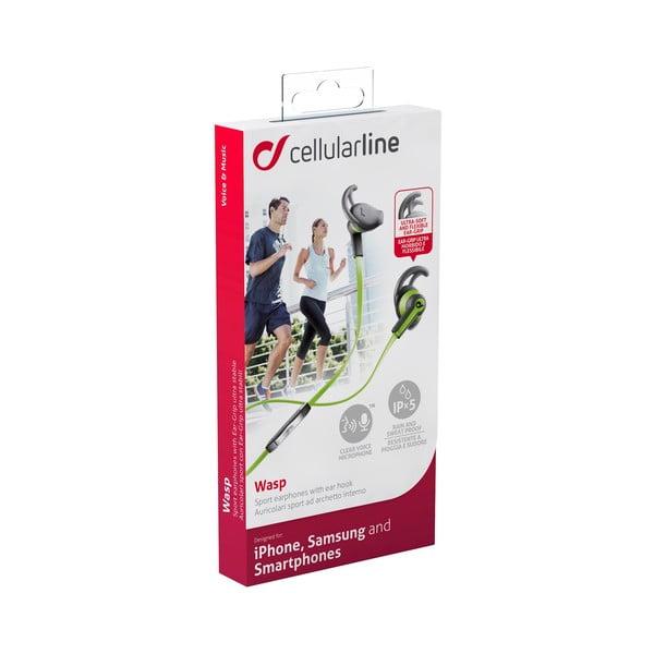 Športové slúchadlá CellularLine WASP s mikrofónom, limetkové