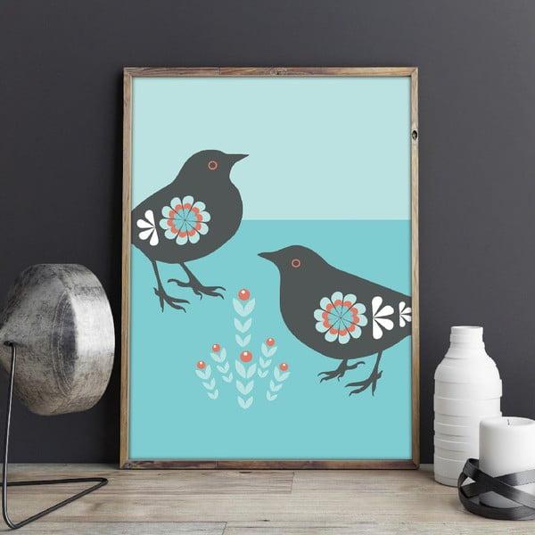 Plagát Vtáčiky s rastlinkou, stredný