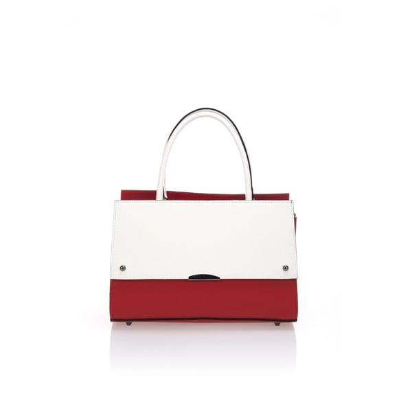Kožená kabelka Advik, červeno-biela