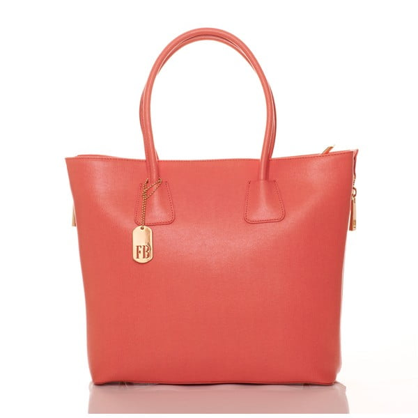 Korálovo ružová kožená kabelka Federica Bassi Saffiano