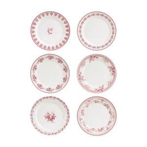 Sada 6 červeno-bielych dezertných tanierov Comptoir deFamille Faustine, 20cm