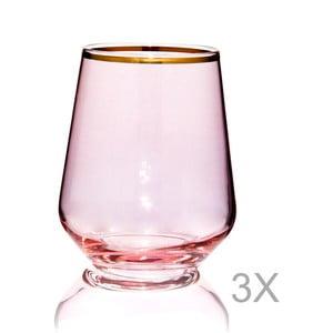 Sada 3 ružových pohárov Mezzo Amor Rosanne, 220 ml