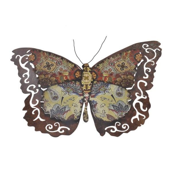 Kovový motýľ na stenu, 34 cm, hnedý