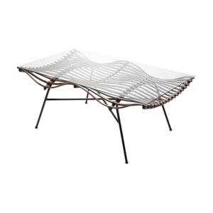 Ratanový konferenčný stolík so sklenenou doskou RGE Wave, 75 x 126 cm