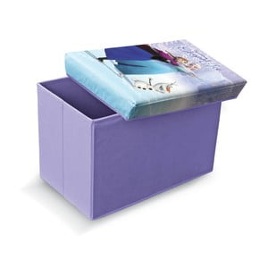 Fialová úložná taburetka na hračky Domopak Frozen, dĺžka49 cm