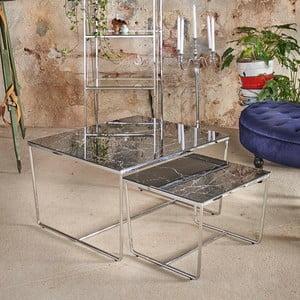 Sada 2 konferenčných stolíkov s podnožím v striebornej farbe a čiernou mramorovou doskou RGE Stella