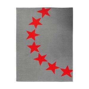 Koberec City & Mix - sivo-červené hviezdy, 140x200 cm
