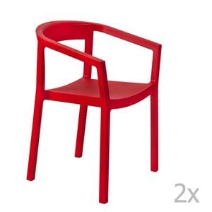 Sada 2 červených záhradných stoličiek sopierkami Resol Peach