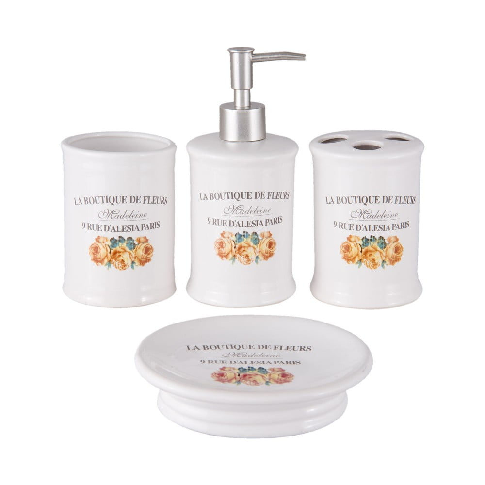 Set keramických kúpeľňových doplnkov Clayre & Eef Boutiue De Fleurs