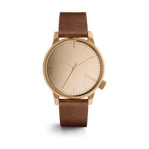 Unisex hnedé hodinky s koženým remienkom a ciferníkom vo farbe ružového zlata Komono Mirror
