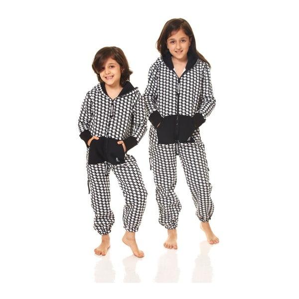 Čierno-biely detský domáci overal Streetfly, pre deti 8-9 rokov