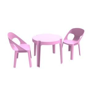 Ružový detský záhradný set 1 stola a 2 stoličiek Resol Julieta