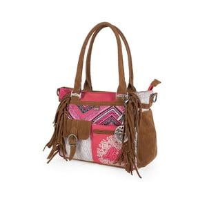 Ružovo-biela kabelka so strapcami Lois, 35 x 25 cm
