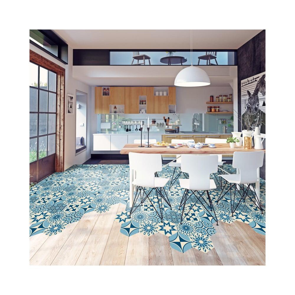 Sada 10 samolepiek na podlahu Ambiance Floor Stickers Hexagons Anéma, 40 × 90 cm