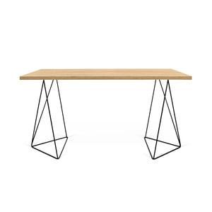 Pracovný stôl v dekore dubového dreva s čiernymi nohami TemaHome Flow