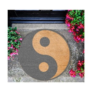 Guľatá rohožka Artsy Doormats Grey Yin Yang, ⌀ 70 cm