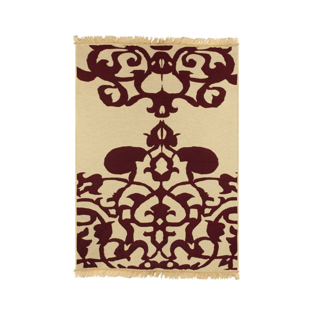Béžový koberec s červeným vzorom Ya Rugs Agac Claret. 60 x 90 cm