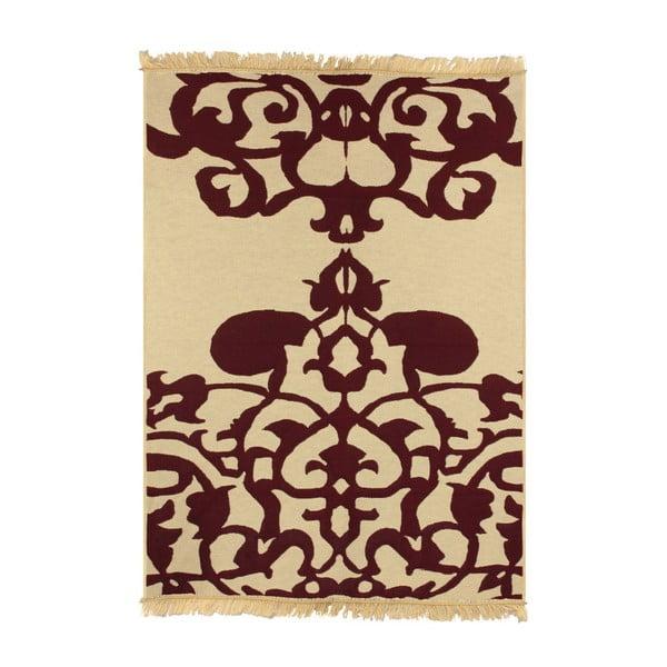 Béžový koberec s červeným vzorom Ya Rugs Agac Claret. 60x90cm