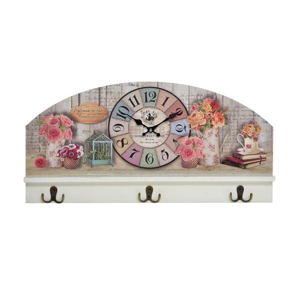Nástenný vešiak s hodinami Flowers