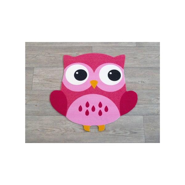 Detský ružový koberec Sova, 100×100cm
