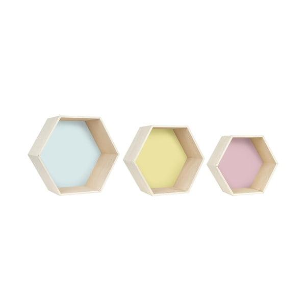 Sada 3 nástenných poličiek Hexagon, farebná