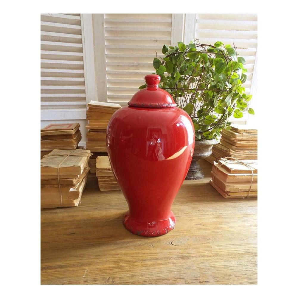 Červená keramická nádoba s vrchnákom Orchidea Milano, výška 38 cm