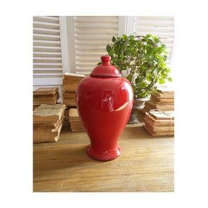 Červená keramická nádoba s vrchnákom Orchidea Milano, 38 cm
