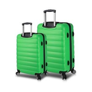 Sada 2 zelených cestovných kufrov na kolieskach s USB porty My Valice RESSNO Large & Medium