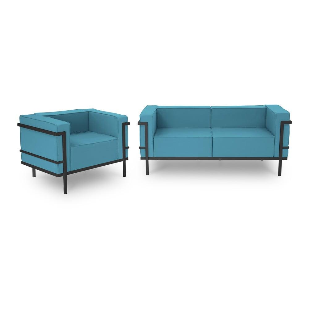 Set záhradného nábytku pre 3 osoby v modrej farbe a v čiernom ráme Calme Jardin Cannes