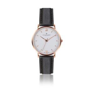 Pánske hodinky s čiernym remienkom z pravej kože Frederic Graff Rose Dent Blanche Black Leather