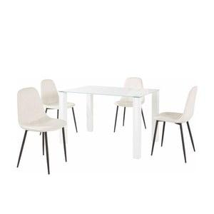Sada jedálenského stola a 4 bielych stoličiek Støraa Dante, dĺžka stola 120 cm