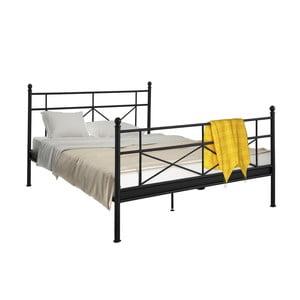 Čierna kovová posteľ Støraa Tanja, 180 x 200 cm