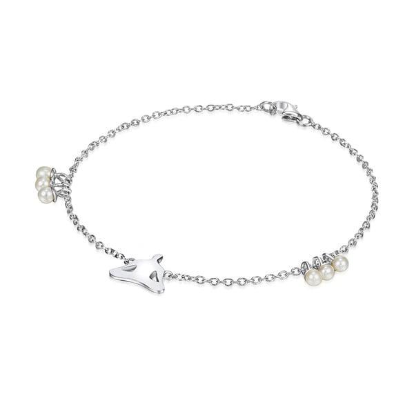 Strieborný náramok s perlami a príveskom Chakra Pearls Lotus, 17 cm