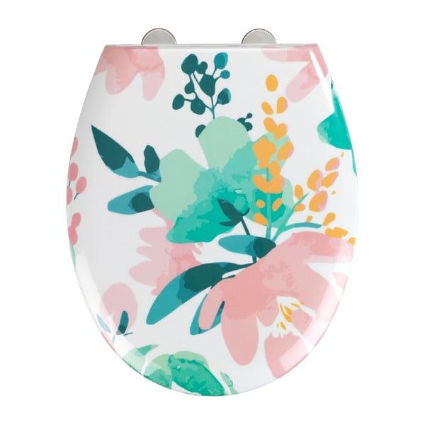 WC sedadlo s jednoduchým zatváraním Wenko Easy Flowery, 44,5 × 37 cm