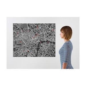 Čierna nástenná mapa Palomar Pin Londýn