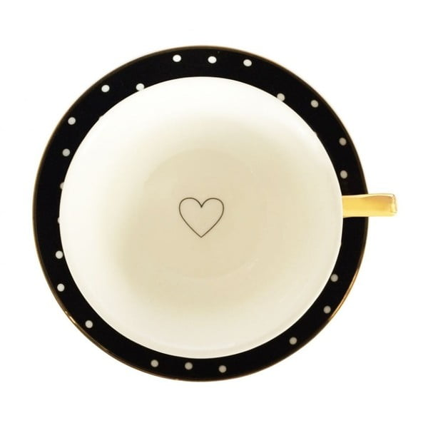 Čierny hrnček s tanierikom Bombay Duck Spotty