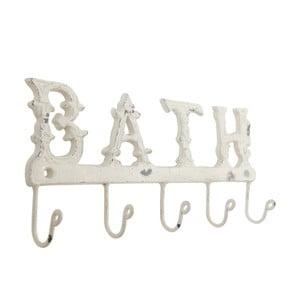 Biely nástenný vešiak s háčikmi Clayre & Eef Bath