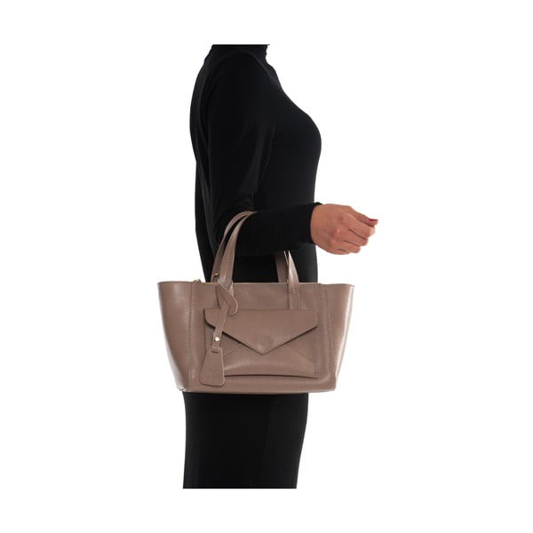 Svetloružová kožená kabelka Mangotti Ricinus