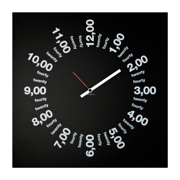 Nástenné hodiny dESIGNoBJECT.it Only Hours Black, 50 x 50 cm