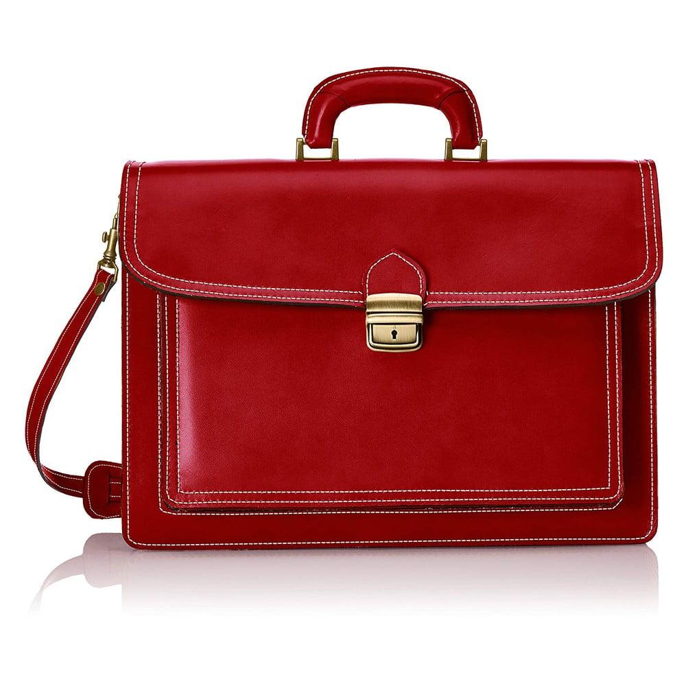 Červená kožená taška Chicca Borse Karli