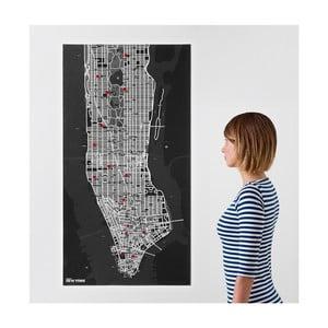 Čierna nástenná mapa Palomar Pin New York