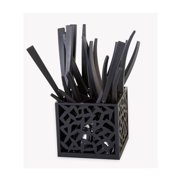 Sada 24 čiernych príborov so stojanom Vialli Design