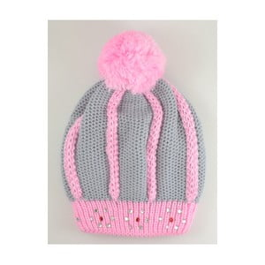 Dievčenská čiapka Beret Light Grey/Pink