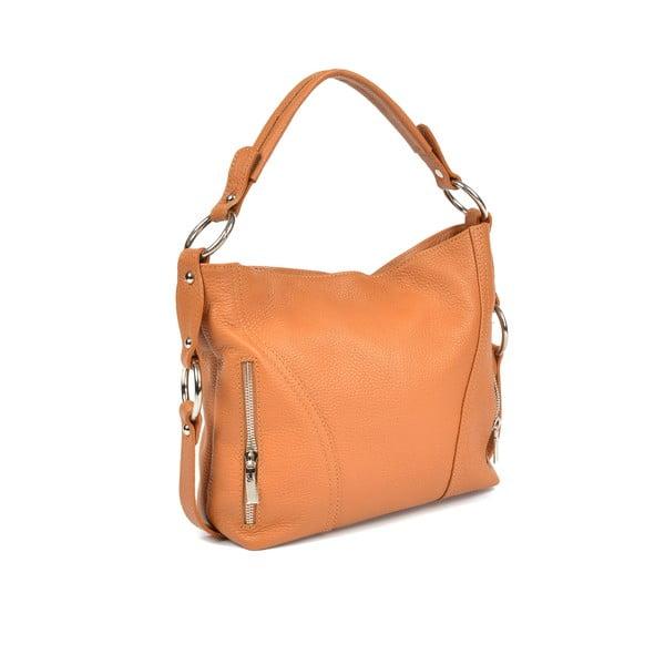Svetlokoňakovo hnedá kožená kabelka Carla Ferreri Beatrice