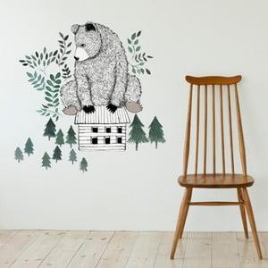 Dekoratívna samolepka na stenu Bear and Cabin