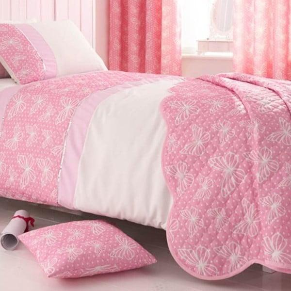 Sada prehozov cez postel a obliečky na vankúš Delicate Butterfly