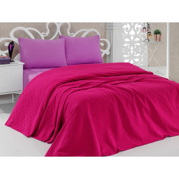 Prikrývka na posteľ Pique Magenta, 200×240cm