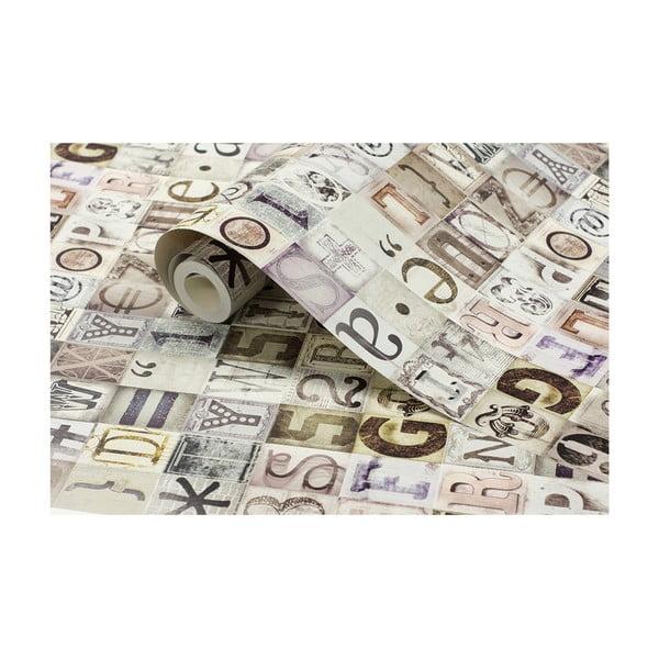 Tapetová rolka Typografia, 53x1005 cm